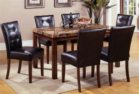 Mission Style Dining Room Set With Granite Top Dining Dining Room Table Sets Leather Chairs