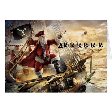 santas pirate ship christmas greeting card zazzle