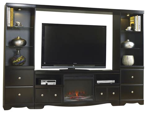 entertainment unit with tv stand with fireplace insert