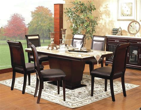 Modern Design Espresso Wood Base W Ivory Marble Top Marble Dining Room Table Set