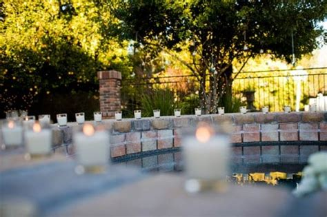 Backyard Wedding Pool Surrounded By Candles Elizabeth Backyard Pool Wedding Ideas