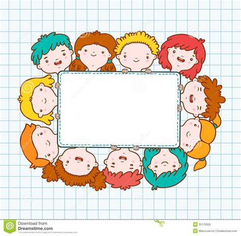 kid doodle free doodle blank frame stock vector image of happiness
