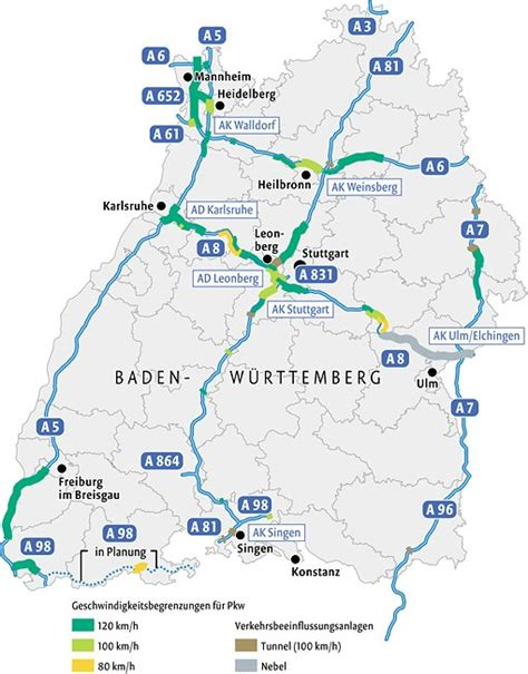"speed limit ""free"" Autobahns in Baden Württemberg"