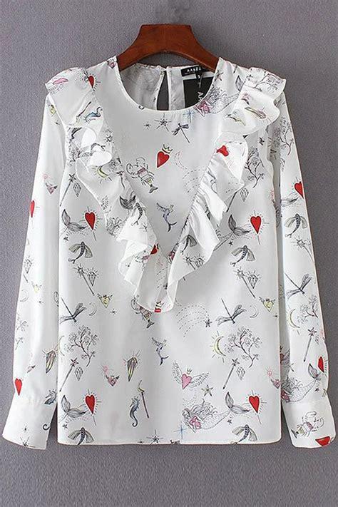 Blouse Mermaid White white sleeve mermaid print ruffles decor blouse