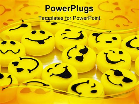 Lots Of Yellow Smiley Faces On Shiny Background Happy Days Happy Powerpoint Templates