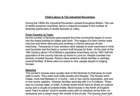 Child Labor Essay by Child Labour The Industrial Revolution A Level Psychology Marked By Teachers
