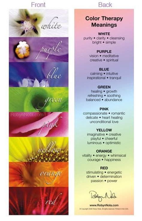 healing colors color therapy bookmark