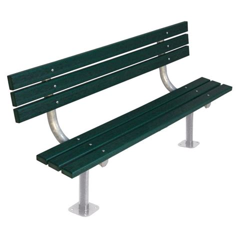 plastic bench ultra play 6 ft green commercial park recycled plastic