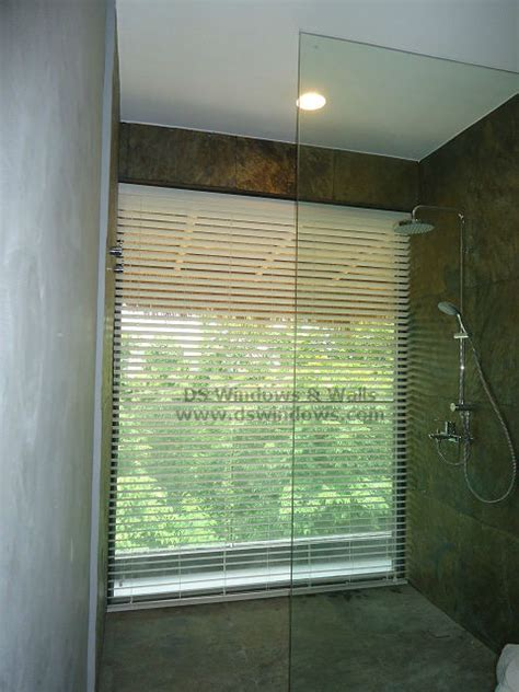 waterproof foam wood blinds for large bathroom window