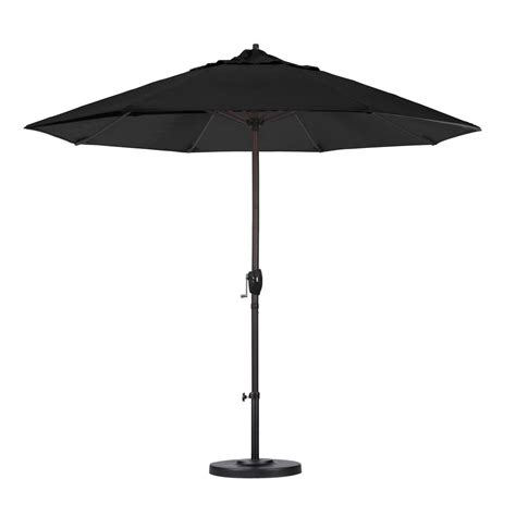 California Umbrella 9 Ft Aluminum Auto Tilt Patio Black Patio Umbrellas