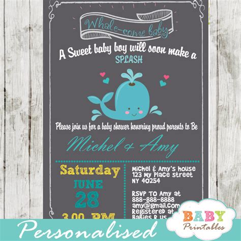 Blue Whale Baby Shower Invitations by Blue Gray Whale Baby Shower Invitation Boys D185