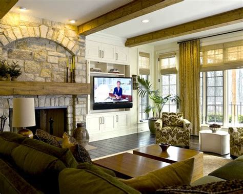 put  tv    fireplace   built  cabinet tv
