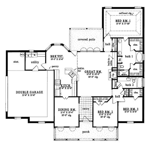 1900 sq ft open floor planm country style house plan 3 beds 2 baths 1900 sq ft plan