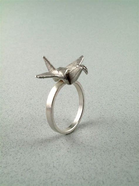 Origami Crane Ring - origami jewelry silver crane ring origami crane ring