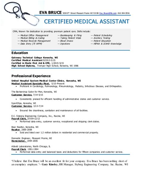 medical assistant resumes examples free resume templates free