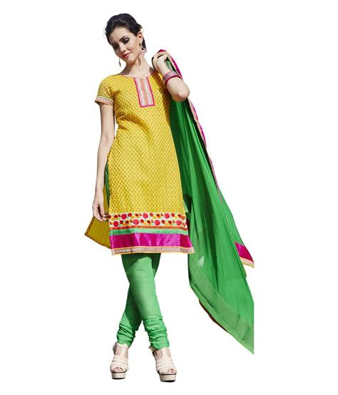 Dress Span 1 span yellow silk unstitched dress material available at snapdeal for rs 1050