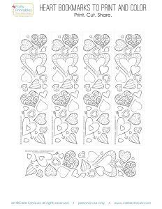 printable heart bookmarks valentine heart bookmarks to print and color carla