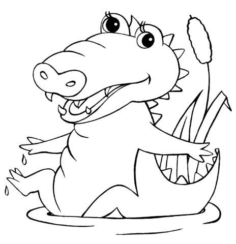 baby crocodile coloring page supercoloring com