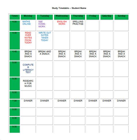 study calendar template revision timetable template revision timetable