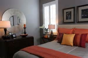 gray and orange bedroom warm and inviting bedroom in grey with orange accents