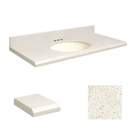quartz bathroom vanity top shop transolid milan white quartz undermount single sink