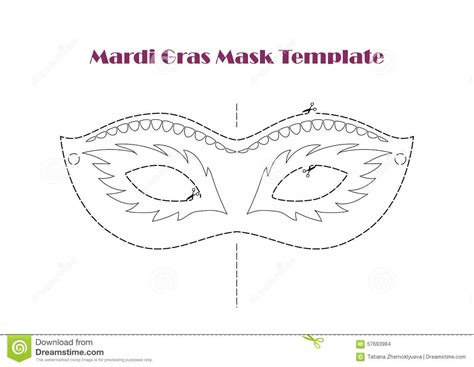 carnival prop mask template printable line vector stock