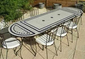 table jardin mosaique ovale 300cm table rectangle plus