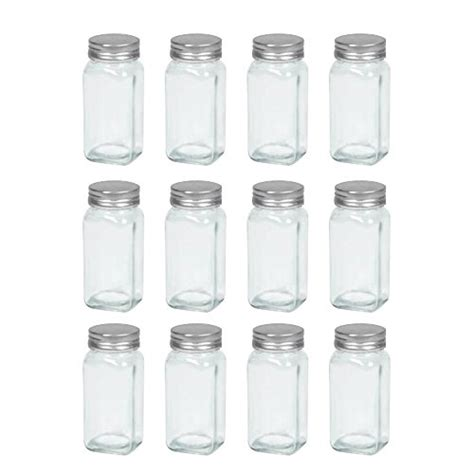 Glass Spice Shaker Jars 12 Empty Square Glass Spice Jars With Shaker Top