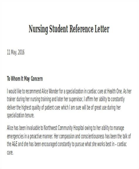nursing reference letter templates word