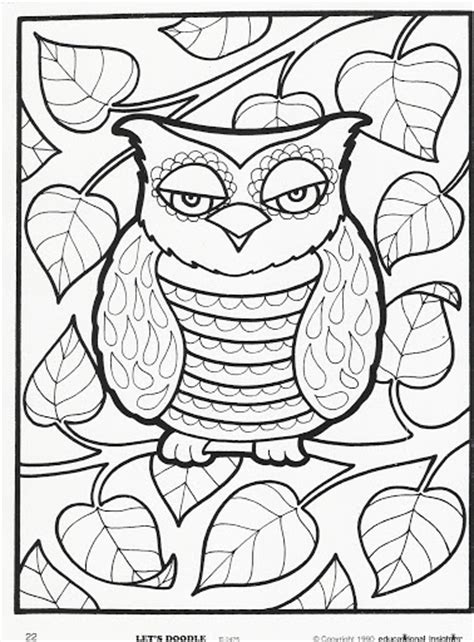 doodle owls colouring pages