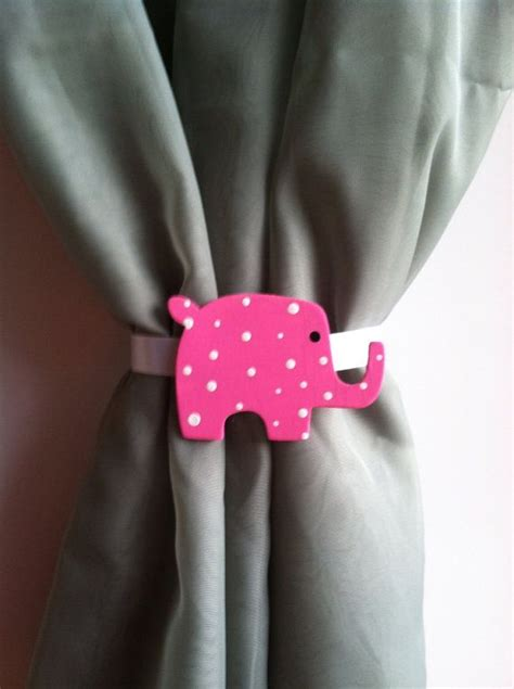 Curtain Tie Backs Nursery Handpainted Curtain Tie Backs Pink Elephant Nursery Curtain Tie Backs Baby Nursery Decor
