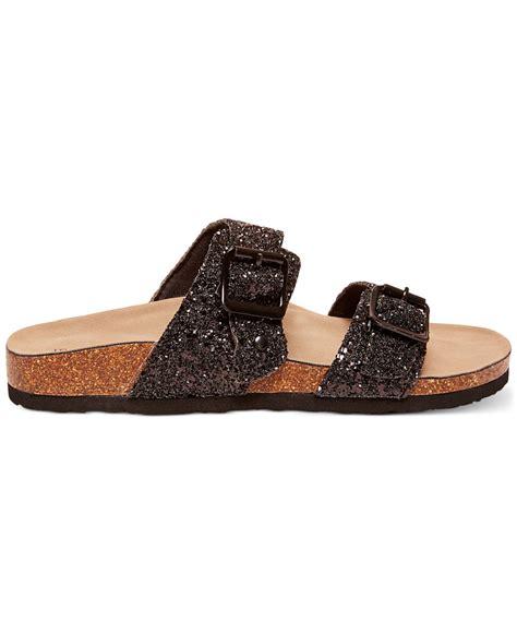 girls black sandals madden girl brando footbed sandals in black black glitter