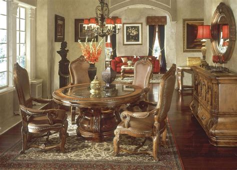 Tuscan Dining Room Sets by Michael Amini Tuscano Biscotti Finish Traditional Round