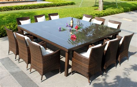 Patio Chairs And Tables Oxford 12 Seater Wicker Rattan Dining Set Outdoor Dining Tables Outdoor Dining Solutions