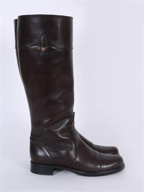 louis vuitton monogram flower leather high boots 38 5