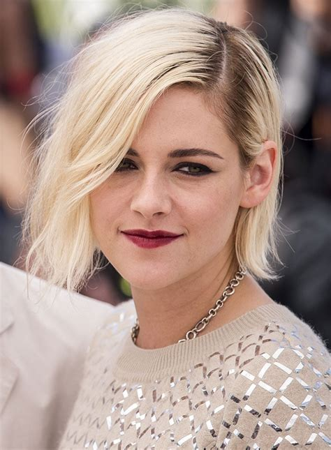 blonde bob red lips personal shopper kristen related keywords personal