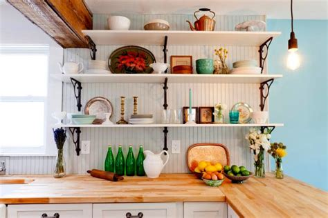 clever kitchen ideas open shelves hgtv photo page hgtv