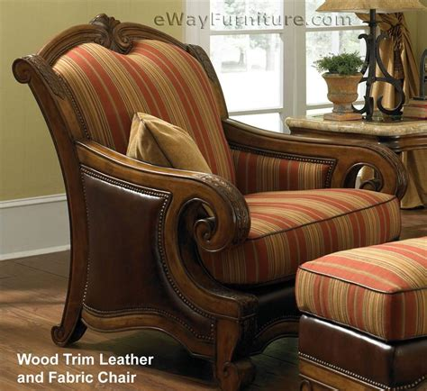 wood and leather chair with ottoman giovanna wood trim leather and fabric chair with ottoman