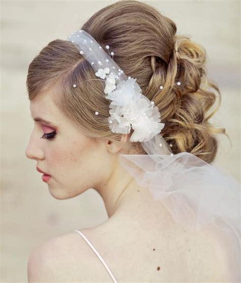 wedding hair using nets wedding veil tie headband of net and vintage flowers