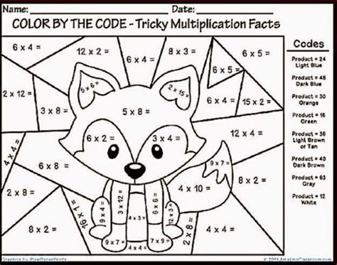 Color Sheet by Multiplication Color Sheet Free Coloring Sheet