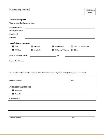 vacation request template employee vacation request form for ms word document hub