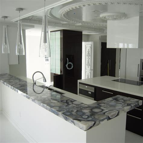 Kitchen Countertops Miami Grey Agate Countertop Semi Precious Modern Miami