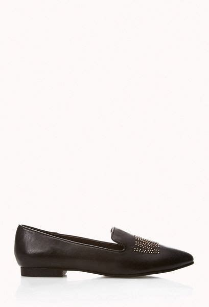 black loafers with gold studs forever 21 whatever stud loafers in black black gold lyst