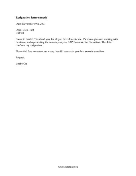 Letter Of Resignation Template Word 2007 Resignation Letter Sle In Word And Pdf Formats