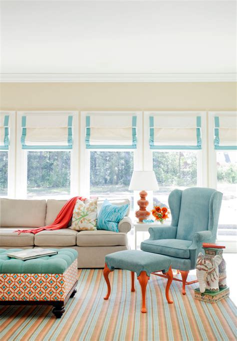 orange white and turquoise living room decor how to decorate with aqua town country living