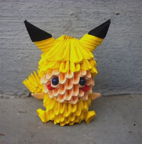 How To Make A 3d Origami Pikachu - pikachu child 3d origami by sophieekard on deviantart