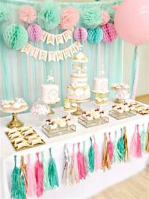 pink mint and gold carousel cake dessert table ch 233 rie