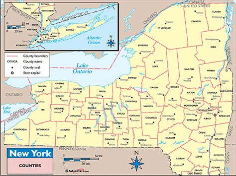 new york county map new york counties and county seats map by maps from maps world s largest map store