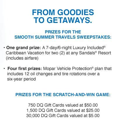 Play Games To Win Gift Cards - mopar smooth summer travels instant win game play to win a dq gift card