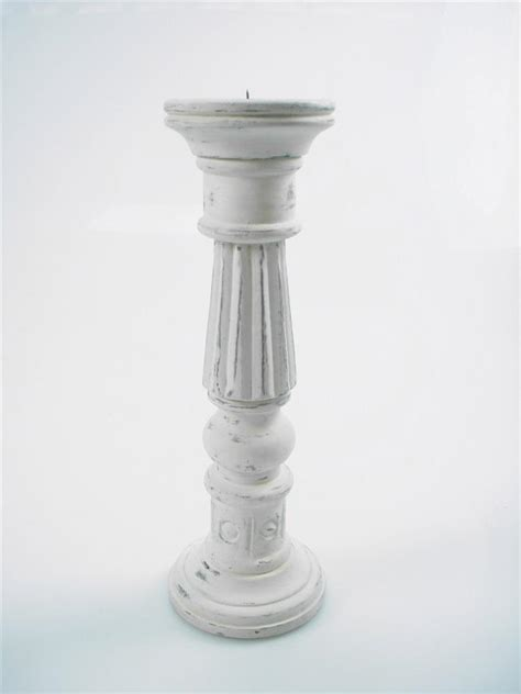 White Candle Holders by 46 36 Or 20cm Rustic Carved White Wood Pillar Church